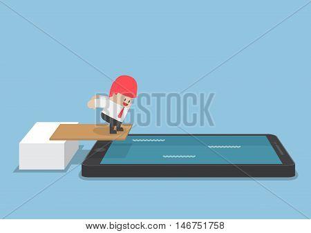 Businessman Jump Into Smartphone Pool