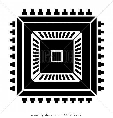 electronic chip black symbol vector