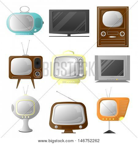 Vector retro and modern stylish tv set. Collection of vintage screens. Icons of media technology. Cartoon style illustration isolated on white background.