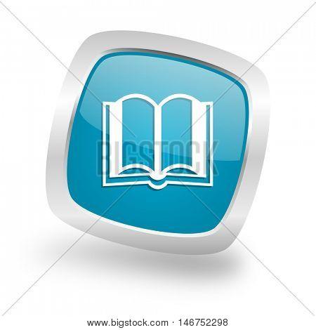 book square glossy chrome silver metallic web icon