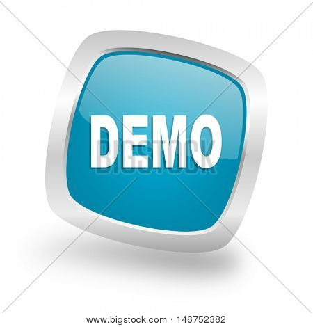 demo square glossy chrome silver metallic web icon