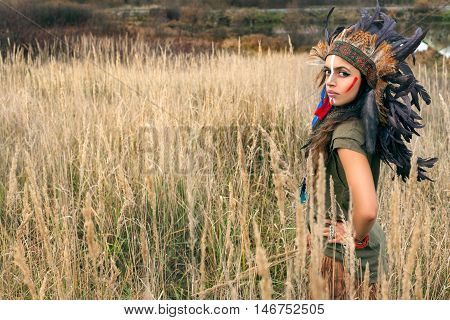 Serious Girl Model Dressed In Native American Indian Clothes
