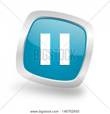 pause square glossy chrome silver metallic web icon