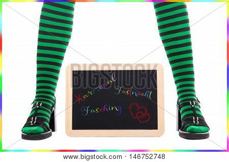 Witch Or Goblin´s Green And Black Striped Legs, Slate With German Words For Carnival