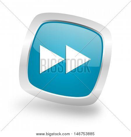 rewind square glossy chrome silver metallic web icon