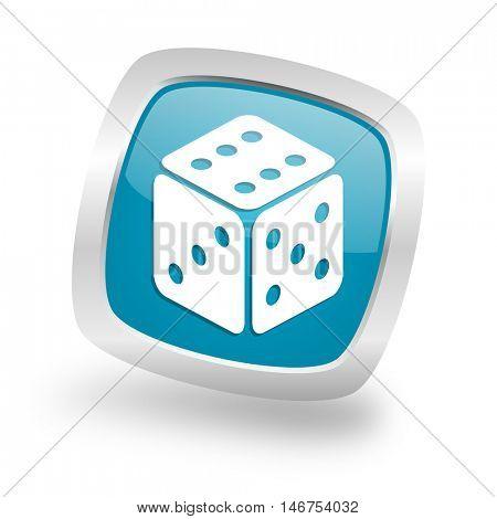 game square glossy chrome silver metallic web icon