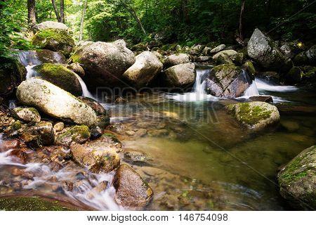 River landscape in the mountainous region of taiga of Siberia. Russian Far East.