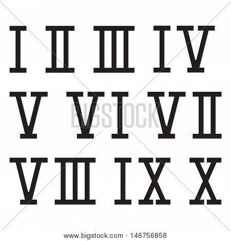 Roman numerals. Vector illustration on white background