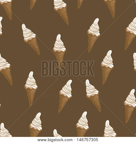 Ice cream waffle cones seamless pattern. Stylized vector illustration. Colorful melting ice-cream. Sweet dessert on dark brown background. Vector illustration.
