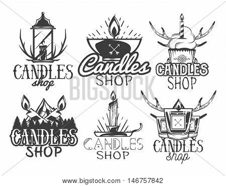 Vector set of candle shop labels. Isolated logos, badges, emblems in vintage style. Monochrome colors