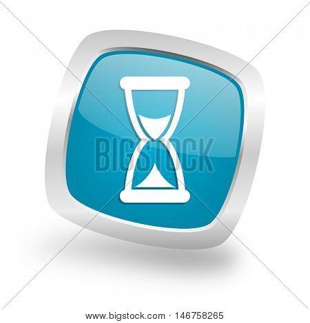 time square glossy chrome silver metallic web icon