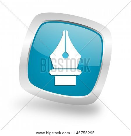 pen square glossy chrome silver metallic web icon