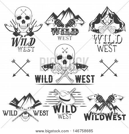 Vector set of wild west badges. Isolated emblems, labels, logos with skulls, revolvers, mountains, cowboy boots in vintage style