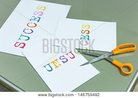 Cutting unsuccess for success target and scissors