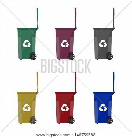 Recycling bins containers for garbage with different colors. vector illustration in flat style