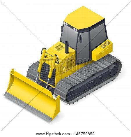 Bulldozer detailed isometric icon vector graphic illustration