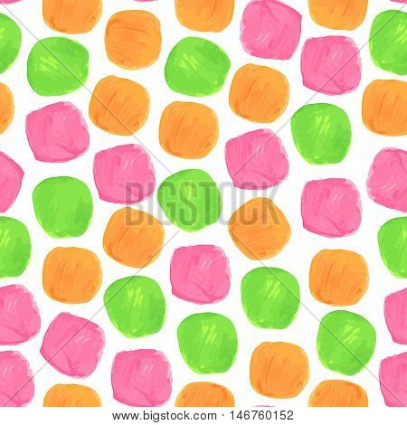 Vector Watercolor Seamless Pattern With Green Orange and Pink Blobs. Clipping paths included.