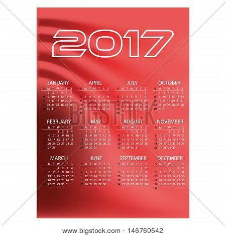 2017 Simple Business Wall Calendar Red Color Abstract Background Eps10