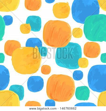 Vector Watercolor Seamless Pattern With Blue and Orange Blobs. Clipping paths included.