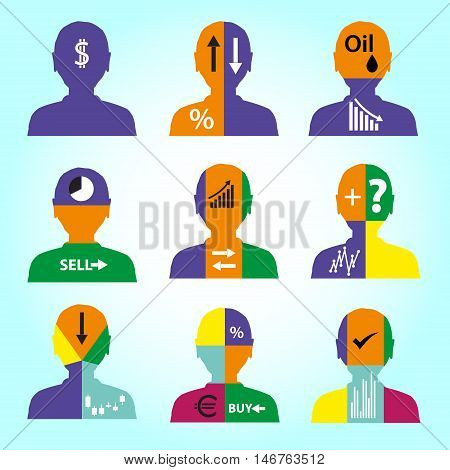 Set Of Men Head Simple Avatar Icons With Color Infographics  Eps10
