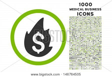 Business Fire Disaster rounded glyph bicolor icon with 1000 medical business icons. Set style is flat pictograms, eco green and gray colors, white background.