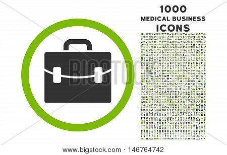 Case rounded glyph bicolor icon with 1000 medical business icons. Set style is flat pictograms, eco green and gray colors, white background.