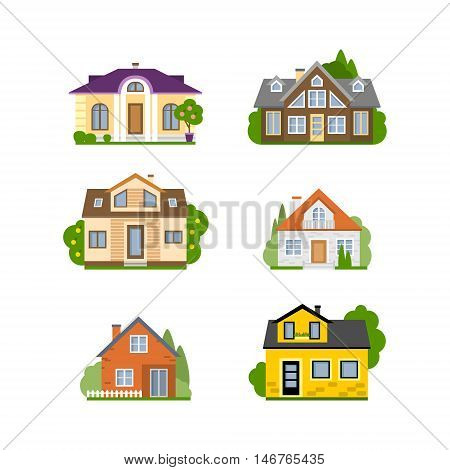 Isolated house set. Concept of real estate, property and ownership. Four different colorful houses.