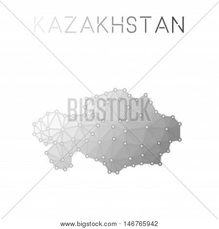 Kazakhstan Polygonal Vector Map. Molecular Structure Country Map Design. Network Connections Polygon