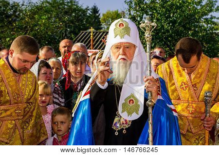 Perechin - Transcarpathia - Ukraine-11 September 2016: Patriarch of the Ukrainian Orthodox Church Kiev Patriarchate Filaret blesses parishioners during the consecration of a new wooden church.