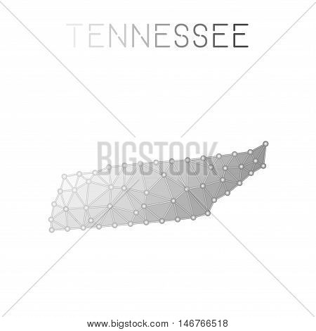 Tennessee Polygonal Vector Map. Molecular Structure Us State Map Design. Network Connections Polygon