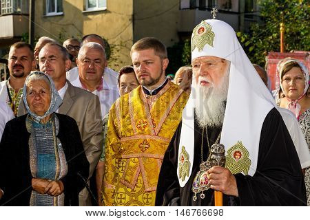 Perechin - Transcarpathia - Ukraine-11 September 2016: Parishioners meet the Patriarch of the Ukrainian Orthodox Church Kiev Patriarchate Filaret before the consecration of a new wooden church.