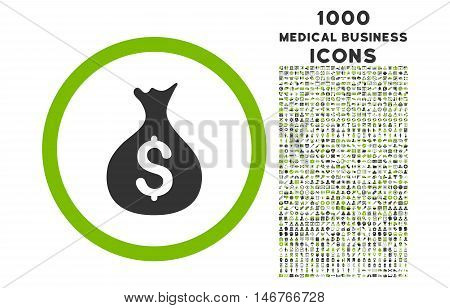 Money Sack rounded glyph bicolor icon with 1000 medical business icons. Set style is flat pictograms, eco green and gray colors, white background.