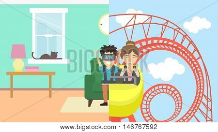 Man in vr riding rollercoaster. Young smiling man having fun in virtual reality game. Virtual amusement park with roller coaster.