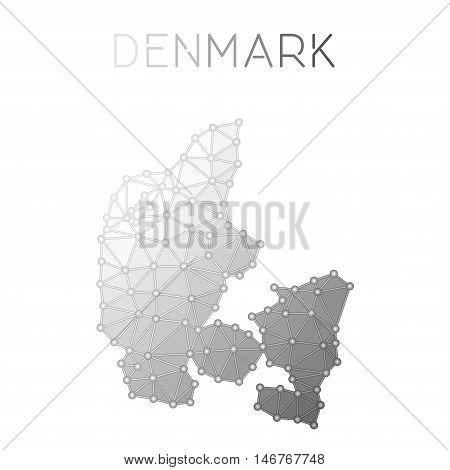 Denmark Polygonal Vector Map. Molecular Structure Country Map Design. Network Connections Polygonal