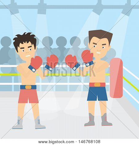 Boxers fighting at the court. Two young male boxers are fighting with gloves. Boxing ring.