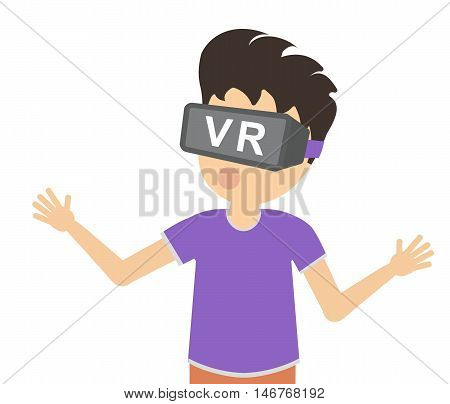 Man in vr. Amazed teen boy or adult man in vr glasses standing on white background. Augmented reality and cyberspace. Video game or 3D film.