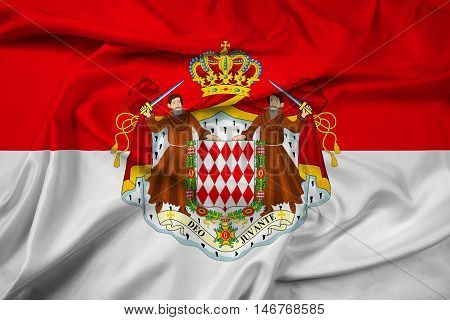 Waving Flag Of Monaco With Coat Of Arms
