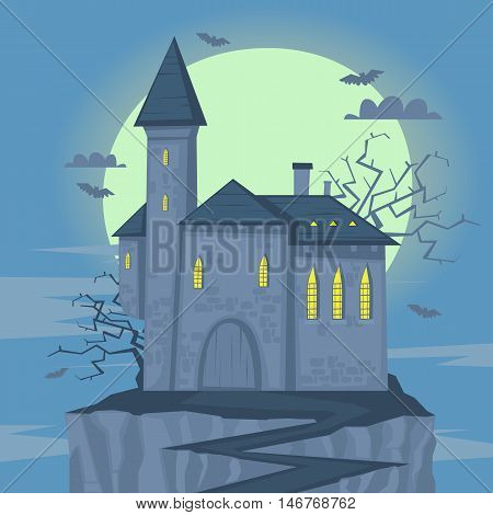 Happy halloween poster, banner, fly-er. Castle on the hill. Halloween party. Flat design vector illustration.