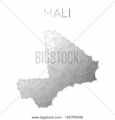 Mali Polygonal Vector Map. Molecular Structure Country Map Design. Network Connections Polygonal Mal