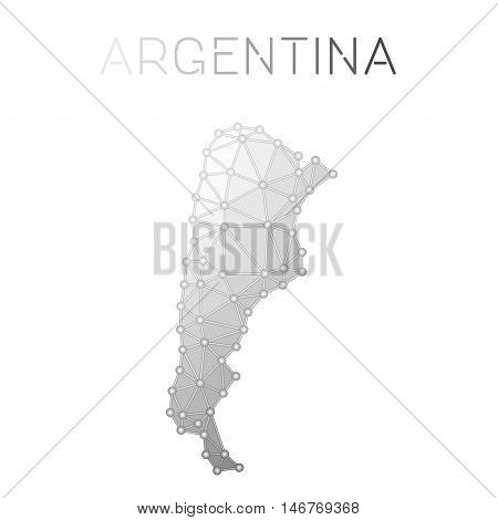 Argentina Polygonal Vector Map. Molecular Structure Country Map Design. Network Connections Polygona