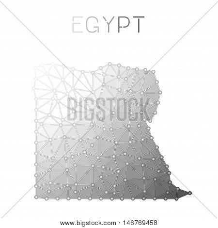 Egypt Polygonal Vector Map. Molecular Structure Country Map Design. Network Connections Polygonal Eg