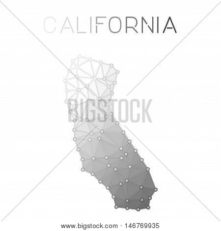 California Polygonal Vector Map. Molecular Structure Us State Map Design. Network Connections Polygo