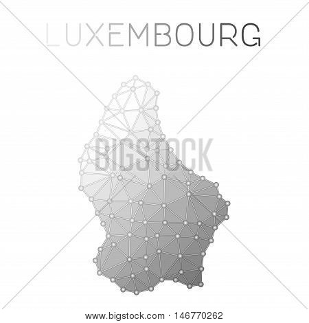 Luxembourg Polygonal Vector Map. Molecular Structure Country Map Design. Network Connections Polygon