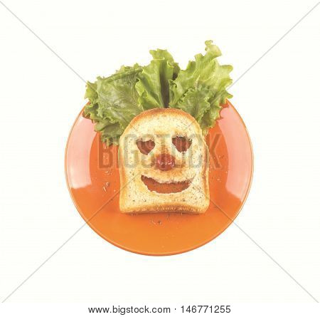 Clown Face Of A Slice Of Bread, Lettuce Hair, Red Nose.
