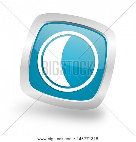 moon square glossy chrome silver metallic web icon
