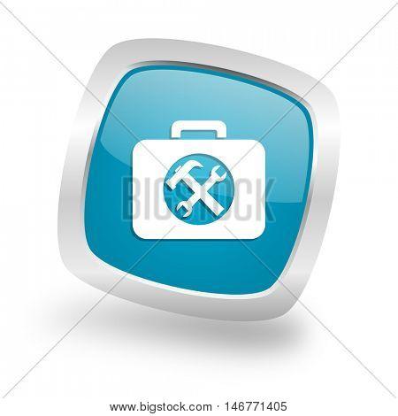 toolkit square glossy chrome silver metallic web icon