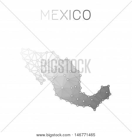 Mexico Polygonal Vector Map. Molecular Structure Country Map Design. Network Connections Polygonal M