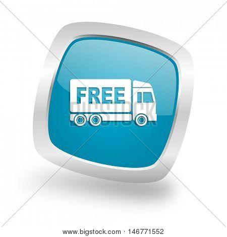 free delivery square glossy chrome silver metallic web icon