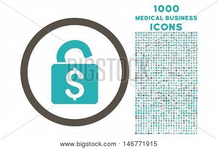 Unlock Banking Lock rounded glyph bicolor icon with 1000 medical business icons. Set style is flat pictograms, grey and cyan colors, white background.