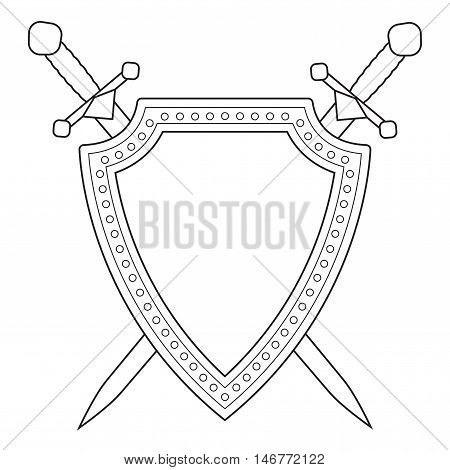 Shield with swords. Web icon. Vector illustration isolated on white background